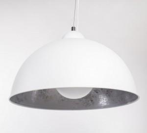 Pendelleuchte aus Metall, Hängeleuchte Farbe Weiß-Silber, Durchmesser 53 cm