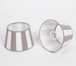 Gestreifter Lampenschirm, Taupe-Weiß, rund Ø 20 cm