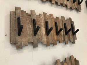 Wandgarderobe Holz-Metall, Garderobe Holz, Breite 53 cm