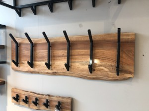 Wandgarderobe Holz-Metall, Garderobe Holz, Breite 100 cm