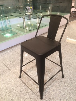 Barstuhl Metall im Industriedesign, Barhocker anthrazit Metall, Sitzhöhe 65 cm