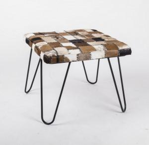 Beistelltisch mit Fell bezogen, Beistelltisch quadratisch, Maße 60x60 cm