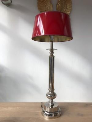Tischlampe verchromt  mit Lampenschirm rot, Tischleuchte rot-Silber, Höhe 83 cm