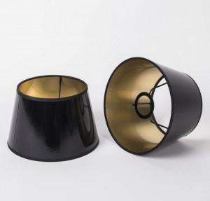 Lampenschirm für Tischleuchte, Farbe Schwarz-Gold, Ø 20 cm