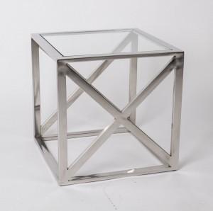 Beistelltisch verchromt aus Metall und Glas, Beistelltisch Silber Maße 40 x 40 cm