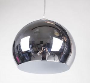 Pendelleuchte aus Metall, Hängeleuchte Farbe Chrom-Weiß, Ø  30 cm