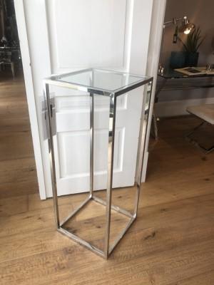 Säule Silber Metall, Dekosäule verchromt Glas-Metall, Höhe 100 cm