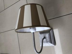 Wandlampe mit Lampenschirm gestreift beige-weiß, Wandleuchte grau Landhausstil