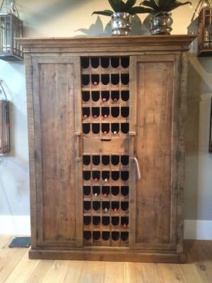 Weinschrank Massivholz, Weinregal Holz im Landhausstil