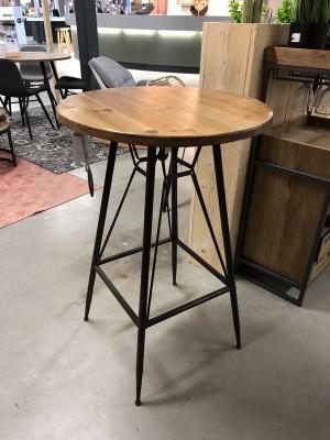 Bartisch Holz-Tischplatte, Bartisch Industriedesign Metall-Gestell, Höhe 99 cm