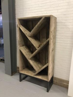 Weinschrank Industriedesign,  Weinregal Altholz, Breite 80 cm