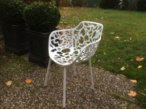 Gartenstuhl weiß, Designstuhl aus Aluminium, Outdoor-Stuhl weiß