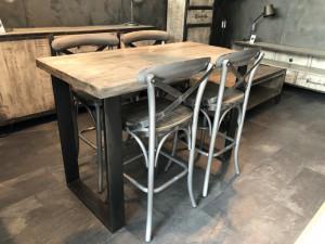 Bartisch Metall-Gestell Industriedesign, Bartisch Holz Tischplatte, Höhe 92 cm