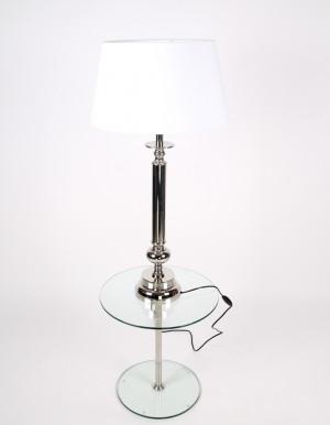 Tischlampe Klassik, Tischleuchte, Farbe chrome-weiß, Höhe 90 cm