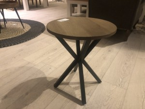 Hocker Holz braun, Hocker vintage Industriedesign, Beistelltisch rund Metall-Gestell, Durchmesser 40 cm