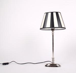 Tischleuchte mit einem gestreiften Lampenschirm, Tischlampe verchromt,  Höhe 52 cm