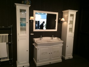 Badezimmerschrank weiß mit eine Glastür, Schrank weiß, Breite 41 cm