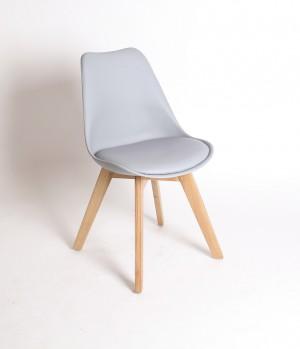 Stuhl gepolstert mit einem Gestell aus Massivholz, Farbe grau
