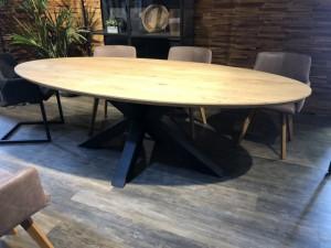 Tischplatte oval, ovale Tischplatte Eiche massiv, oval Eichen-Tischplatte, Länge 200 cm