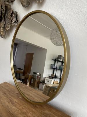 Spiegel rund Farbe Bronze, Wandspiegel rund Gold-Antik, Durchmesser 80 cm