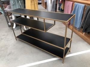 Konsole schwarz-Gold Metall, Wandkonsole schwarz, Wandtisch Gold Metall, Breite 140 cm