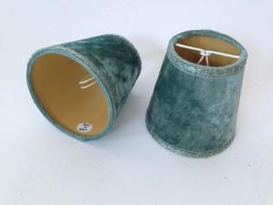 Aufsteckschirm türkis-grün für Kronleuchter,  KIemmschirm - Lampenschirm grün-türkis,  Ø 16 cm