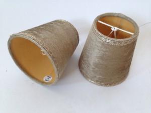 Aufsteckschirm braun-gold für Kronleuchter,  KIemmschirm - Lampenschirm,  Ø 12 cm