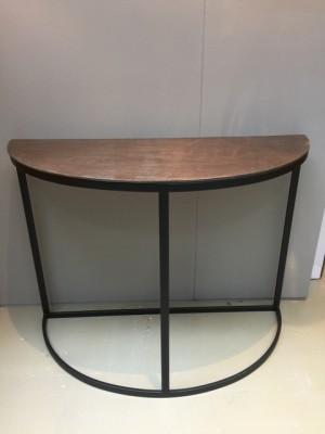 Konsole halbrund Bronze schwarz, Wandtisch Metall schwarz, Breite 100 cm