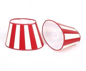 Gestreifter Lampenschirm, rot-weiß gestreift, oval Ø 20 cm