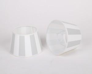 Gestreifter Lampenschirm, grau-weiß, rund Ø 20 cm