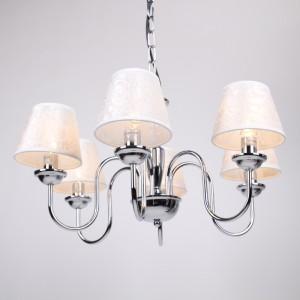 Verchromter Kronleuchter 6-armig,  mit weißen Lampenschirmen, Ø 60 cm