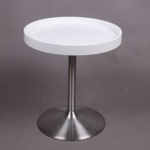Tablett-Tisch weiß, Beistelltisch weiß-satiniert