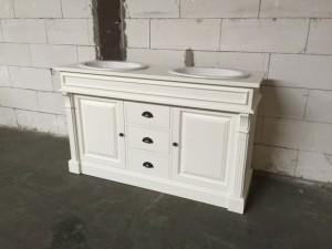 Waschtisch weiß Massivholz, Waschtisch weiß-braun im Landhausstil, Breite 150 cm