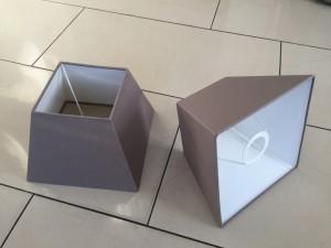 Lampenschirm quadratisch taupe, Maße 20x20 cm
