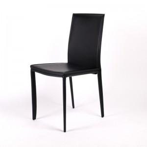 Stuhl aus Lederfaserstoff, Stuhl schwarz
