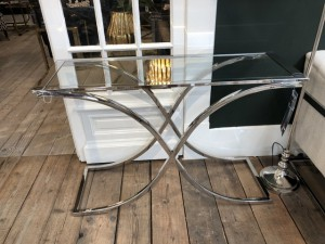 Glas Konsole Silber, Konsole Silber Glas-Metall verchromt, Wandtisch verchromt Glas, Maße 120x40 cm