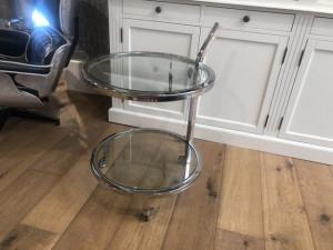 Trolley Silber Glas, Servierwargen Silber Metall Glas, Durchmesser 51 cm
