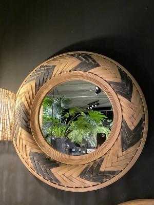 Spiegel rund Rattan, runder Wandspiegel Rattan,  Maße 65 cm