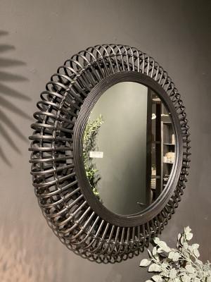Spiegel schwarz rund Rattan, runder Wandspiegel schwarz Rattan,  Maße 79 cm