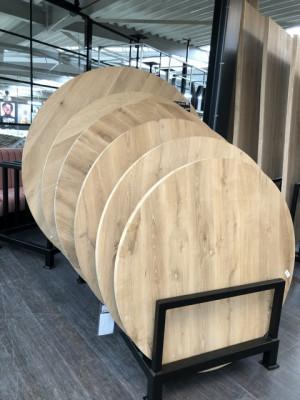 Tischplatte rund Eiche massiv, runde Tischplatte Eiche massiv, Durchmesser 130 cm