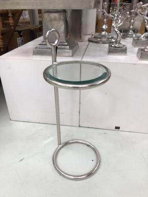 Beistelltisch Silber, Runder Glastisch, Beistelltisch rund Glas,  Durchmesser 32 cm