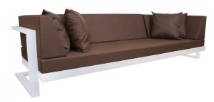 Outdoor Sofa, Farbe weiß-braun, Aluminium Gestell, gepolstert
