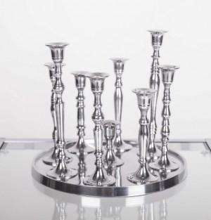 Kerzenständer Silber 9-armig,  Kerzenhalter aus Aluminium, Ø 30 cm