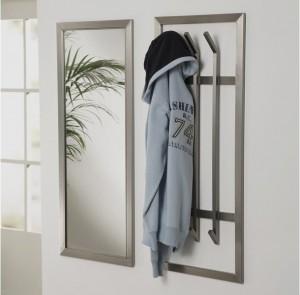 Wandspiegel, Edelstahl, Garderobenspiegel mit einem Edelstahlrahmen, Höhe 100 cm