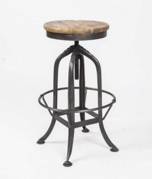 Barhocker mit Metallgestell, Barstuhl mit verstellbarer Höhe, Sitzhöhe 62-81 cm