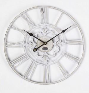 Wanduhr  Metall im Landhausstil, Uhr weiß vintage, Ø 70 cm