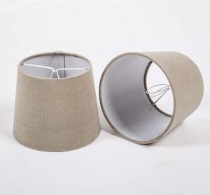 KIemmschirm taupe, Aufsteckschirm taupe, Lampenschirm für Kronleuchter, Form rund Ø 15 cm