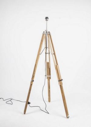 Lampenfuß für eine Stehlampe, Farbe Naturholz-Chrome, Höhe 100-180 cm