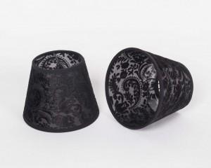 KIemmschirm schwarz, Lampenschirm für Kronleuchter, Form rund Ø 14 cm