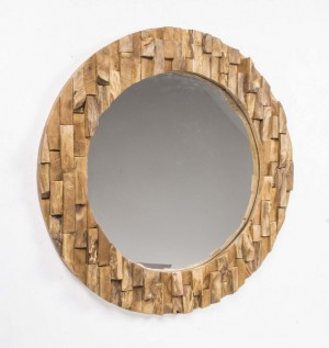 Spiegel Holzrahmen, Wandspiegel Massivholz, Durchmesser 80 cm
